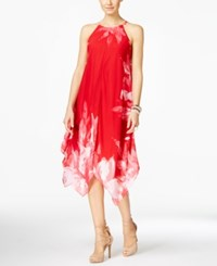 Inc International Concepts Petite Printed Halter Handkerchief Hem Dress Only At Macy's Real Red