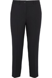 Miu Miu Cropped Stretch Wool Tapered Pants Navy