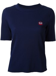 Muveil Chest Embroidery Knit T Shirt Blue