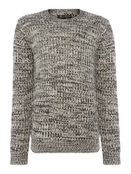 Label Lab Men's Dean Multicoloured Crew Neck Jumper Black And Grey Black And Grey
