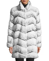Belle Fare Oversized Chevron Fur Coat White