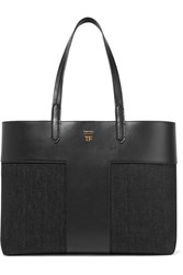Tom Ford T Leather And Denim Tote Black