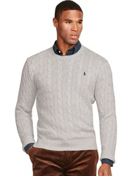 Ralph Lauren Polo Cable Knit Crew Neck Jumper Light Grey Heather