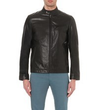 Ted Baker Core Band Collar Leather Jacket Black