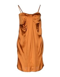 Guess By Marciano Knee Length Dresses Rust