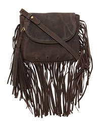 Cynthia Vincent Autumn Leather Fringe Crossbody Bag Brown
