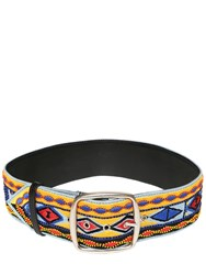 Etro Embroidered Leather Belt Blue Yellow