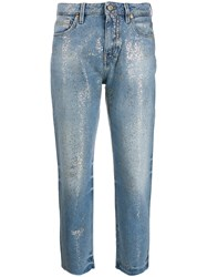 Pt05 Glitter Effect Cropped Jeans Blue