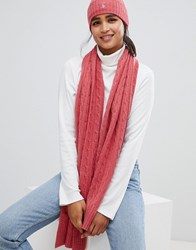 Polo Ralph Lauren Cashmere Blend Cable Knit Scarf Pink