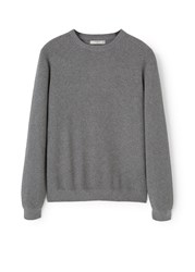 Mango Cotton Cashmere Blend Sweater Grey