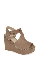 Bc Footwear Here We Go Again Wedge Sandal Taupe Suede