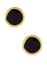 Ariella Collection Circle Stud Earrings Black
