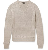 Tom Ford Mulberry Silk And Mohair Blend Sweater Mushroom