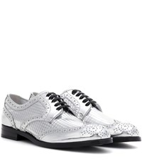 Dolce And Gabbana Metallic Leather Derby Shoes Silver