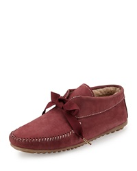 Jacques Levine Daphne Lace Up Moccasin Boot Burgundy