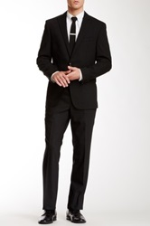 Kenneth Cole Solid Black Two Button Peak Lapel Wool Suit
