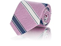 Fairfax Striped Textured Silk Necktie Pink
