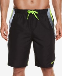 Nike Men's Side Striped Water Shedding Swim Trunks 9 Classic Charcoal