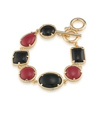 1St And Gorgeous Multi Shape Flex Toggle Bracelet Dark Red Black Dark Red And Black