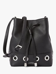Ralph Lauren Debby Ii Drawstring Leather Bucket Bag Black