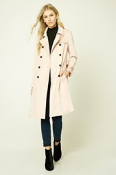 Forever 21 Faux Suede Belted Coat Blush