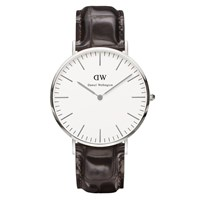 Daniel Wellington Classic York Silver Watch Croc Brown