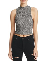 Michelle By Comune Marled Ribbed Mock Neck Crop Top Black White