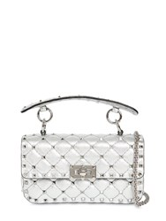Valentino Garavani Small Studded Laminated Leather Bag Silver