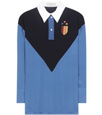 Stella Mccartney Ornella Embroidered Silk Shirt Blue