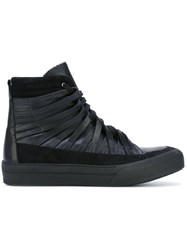 Damir Doma Strappy Hi Tops Men Calf Leather Leather Rubber 40 Black