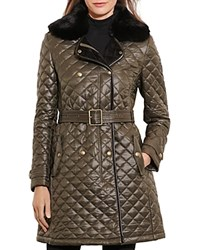 Ralph Lauren Belted Double Breasted Quilted Jacket Olive
