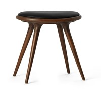 Mater Dark Stained Oak With Black Leather Stool