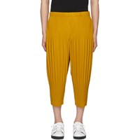 Homme Plisse Issey Miyake Yellow Pleat Wide Trousers
