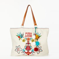 Star Mela Rosio Embroidered Tote Bag Ecru Multi
