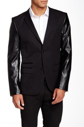 Edge By Wd.Ny Faux Leather Sleeve Slim Fit Blazer Black