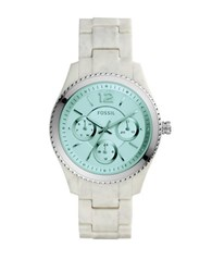 Fossil Stella Horn Acetate Link Bracelet Multifunction Watch White