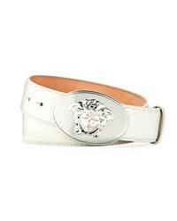 Versace Leather Belt With Medusa Head Buckle White