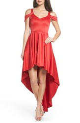 Sequin Hearts 'S Cold Shoulder High Low Gown Red