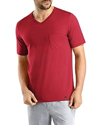 Hanro Night And Day V Neck Tee Red