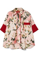 F.R.S For Restless Sleepers Pistis Floral Print Silk Twill Shirt Pink