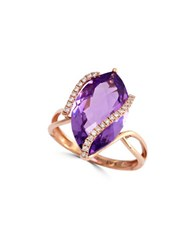 Effy Diamonds Pink Amethyst And 14K Rose Gold Ring Purple