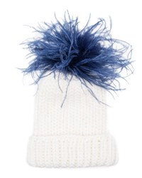 Eugenia Kim Rain Winter Beanie Hat W Feather Pom Pom White Blue White Blue