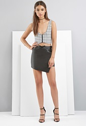 Forever 21 Foxiedox Faux Leather Asymmetrical Mini Skirt Black