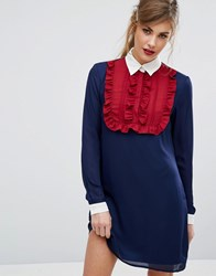 Fashion Union Ruffle Front Contrast Dress With Collar Navy