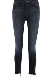 Mother The Stunner Frayed High Rise Skinny Jeans Dark Denim