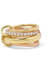 Spinelli Kilcollin Luna Champagne Set Of Four 18 Karat Yellow And Rose Gold Diamond Rings 6