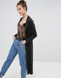 Pull And Bear Pullandbear Longline Rib Cardigan Grey
