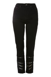 Topshop Moto Geo Cutout Black Straight Leg Jeans Washed Black