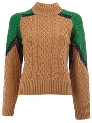 Sacai Cable Knit Jumper Brown
