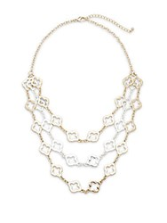 Saks Fifth Avenue Dual Tone Open Design Three Layer Necklace Goldtone